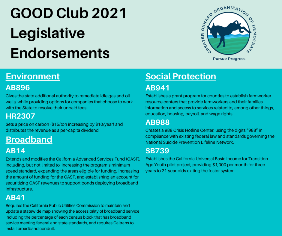 2021 GOOD Legislative Endorsements 2